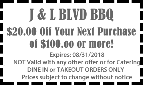 20 dollars off next purchase of 100 of more - Barbeque Restaurant Special!